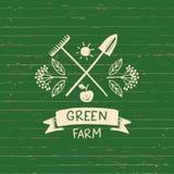 Ferme de vert de logo de vecteur Croquis pour l'agriculture de logo, horticulture Photo stock