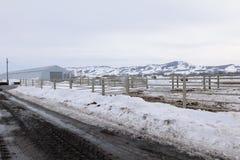 Ferme de village en hiver Photographie stock libre de droits