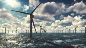 Ferme en mer de moulin à vent dans l'océan, moulins à vent d'isolement dans l'océan un beau jour lumineux ensoleillé contre le bl clips vidéos