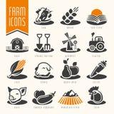 Ferme et ensemble d'icône de boucherie Photo libre de droits