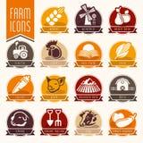 Ferme et ensemble d'icône de boucherie Photographie stock