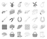 Ferme et jardinage mono, icônes d'ensemble dans la collection réglée pour la conception Web d'actions de symbole de vecteur de fe illustration de vecteur