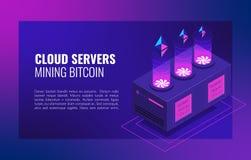 Ferme futée d'exploitation d'Ethereum Cryptocurrency et illustration isométrique de vecteur d'affaires de réseau de blockchain illustration stock
