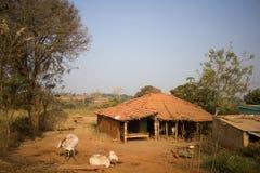 Ferme indienne pauvre de ménage Andhra Pradesh, Anantapur Photos libres de droits