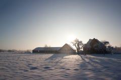 Ferme pendant l'hiver néerlandais Photos libres de droits