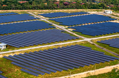 Ferme solaire, panneaux solaires de l'air Photographie stock libre de droits