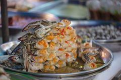 Ferment crab in aluminium trey on street food of Bangkok, Thaila. Ferment crab in aluminium trey on street food of Bangkok of Thailand Stock Photo