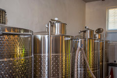 Fermentaion stainless tanks for wine production Royalty Free Stock Image