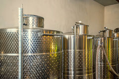 Fermentaion stainless tanks for wine production Stock Images