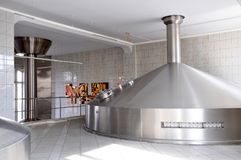 Fermentation in a brewery - tanks with beer for brewing stock photo