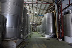 Fermentation in stainless steel vats for wine at the winery Santa Rita. Stock Images
