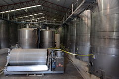 Fermentation in stainless steel vats for wine at the winery Santa Rita. Stock Photos