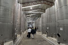 Fermentation in stainless steel vats for wine at the winery Santa Rita. Royalty Free Stock Images