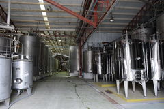 Fermentation in stainless steel vats for wine at the winery Santa Rita. Royalty Free Stock Photography