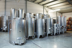 Fermentation stainless steel vats Royalty Free Stock Image