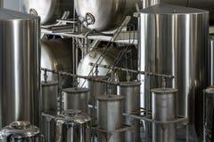 Fermentation tanks in a distillery stock image