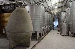 Fermentation tanks stainless steel for wine at the winery Viu Manent. Stock Photography