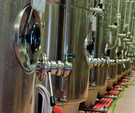 Fermentation tanks for wine production Stock Images