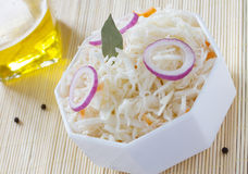 Fermented cabbage - Sauerkraut with herbs and spices Stock Image