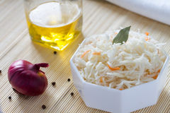 Fermented cabbage - Sauerkraut with herbs and spices Stock Photography