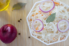 Fermented cabbage - Sauerkraut with herbs and spices Stock Images