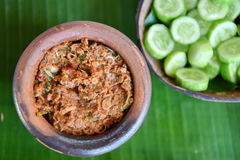 Fermented fish spicy dip in bowl baked clay Stock Photography