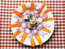 Fermented herring ,carrot and onion circle in the shape of sun Royalty Free Stock Photos