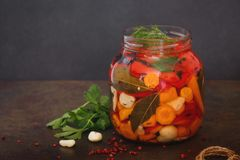 Fermented pickled vegetables in jar. Fermented pickled vegetables in glass jar on concrete surface. Macro, selective focus, blank space Stock Photography