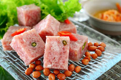 Fermented pork. Thai fermented pork with peanut and vegetable Royalty Free Stock Photo