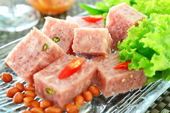 Fermented pork. Thai fermented pork with peanut and vegetable Royalty Free Stock Image