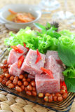 Fermented pork. Thai fermented pork with peanut and vegetable Stock Photography