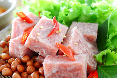 Fermented pork. Thai fermented pork with peanut and vegetable Royalty Free Stock Images