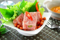 Fermented pork. Thai fermented pork with peanut and vegetable Stock Photo