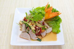 Fermented pork in spicy sauce salad Royalty Free Stock Photo