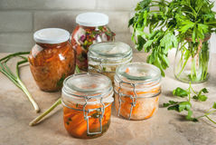 Fermented preserved  food. Concept of a fermented meal. Home canned food and billets. Vegan food. Vegetables. Cans of canned salsa, sauerkraut, marinated carrots Stock Photo