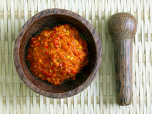Fermented shrimp paste. Close up of a bowl of fermented shrimp paste Stock Image