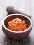 Fermented shrimp paste. Close up of a bowl of fermented shrimp paste Royalty Free Stock Image
