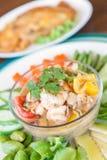 Fermentez la crevette avec le légume dans le plat Nourriture thaïe - friture #6 de Stir photo libre de droits