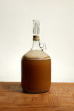 Fermenting Homebrew Beer. A one gallon growler used for primary fermentation of homebrew beer is shown on an Oak table Stock Image