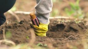 Fermer afrouxa a terra, jardim, campo, lote de terra arado, trabalho no jardim filme