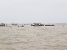 Fermes d'élevage de poissons Images libres de droits