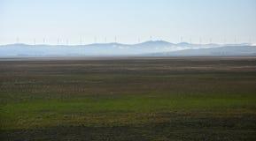 Fermes de vent rurales au lac George en Australie images libres de droits
