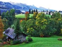 Fermes rurales et l'architecture traditionnelle de Wildhaus dans Thur River Valley image stock