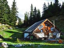 Fermes rurales et l'architecture traditionnelle de Wildhaus dans Thur River Valley image libre de droits