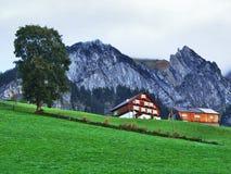 Fermes rurales et l'architecture traditionnelle de Wildhaus dans Thur River Valley photographie stock