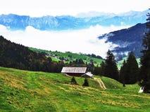 Fermes rurales et l'architecture traditionnelle de Wildhaus dans Thur River Valley images stock