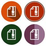 Fermeture éclair plate d'icônes Images stock