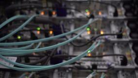 Fermeture de la porte du support de serveur Le vert de lueur de câble à fibres optiques a mené banque de vidéos