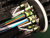 Fermeture de masse à fibres optiques avec des ports d'entrée de câble photo stock
