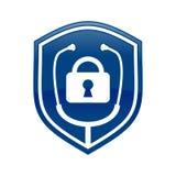 Fermez à clef docteur Shield Logo Blue Symbol Design Images libres de droits